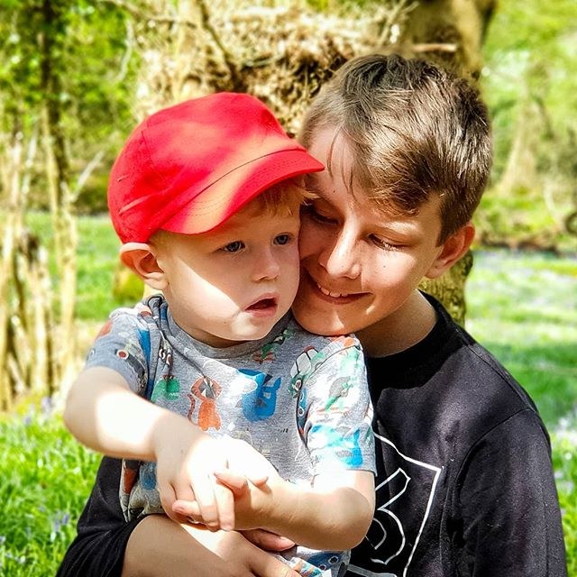 Love these two, so happy to share the walk in the woods with them #bluebells #forest #woods #hampshire #portsmouth #havant #family #love #sons