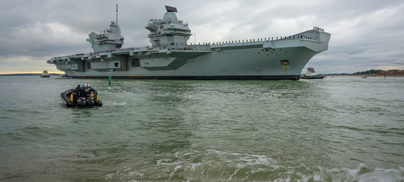 HMS Prince of Wales sails into Portsmouth for the first time